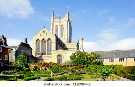 Outside view of the St Edmundsbury Cathedral in Bury St Edmunds, UK