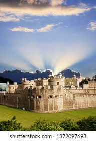 Outside view of Tower of London, Her Majesty's Royal Palace and Fortress, over dramatic sky. . Now the castle is a popular tourist attraction.