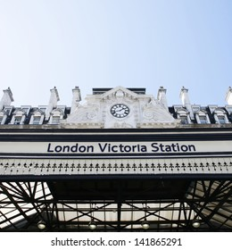 Outside view of Victoria Station, located in Belgravia, since 1860, second busiest railway terminus after Waterloo in the UK.