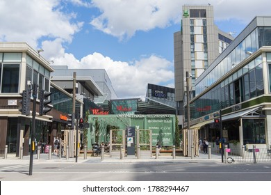 Outside view of Westfield Shopping Centre in Stratford on a sunny day. London - 2nd August 2020