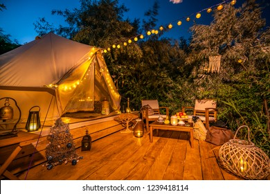 outside view of white glamping tent 1