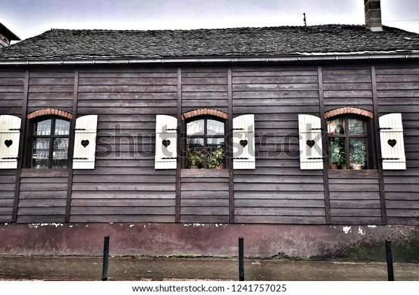 Outside Window Shutters Home Carved Heart Stock Photo Edit Now 1241757025