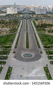 Outskirts of Ashgabat, Turkmenistan shot from the Bitaraplyk Binasy monument