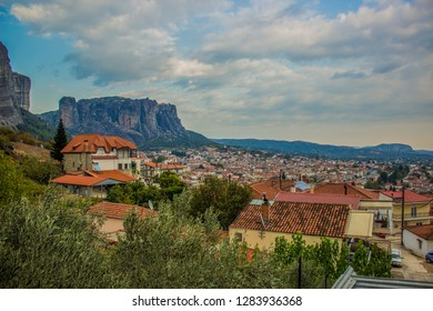 outskirts south European village building landmark place with steep rocks and picturesque mountain background landscape