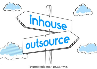 Outsource, inhouse - signpost, white background
