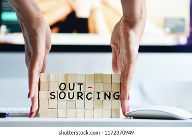 Outsourcing concept with HR manager looking for solutions or strategic sourcing