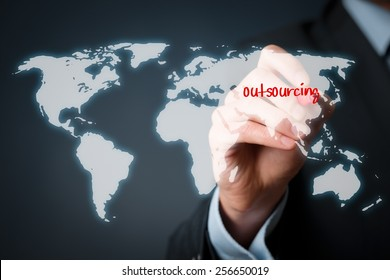 Outsourcing, globalization and global business strategy concept.