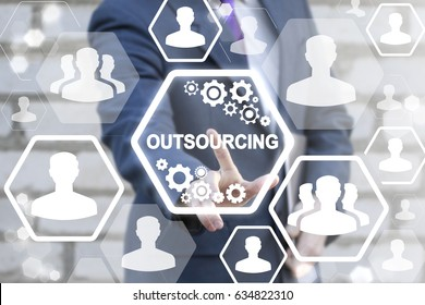 Outsourcing Service Workforce Manpower Freelance Outsource International Partnership Branch Office Global Business Industry Concept. Man touched icon outsourcing text on virtual screen.