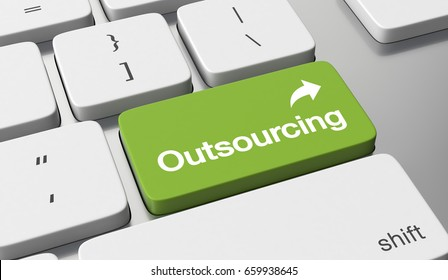 Outsourcing text on keyboard button. 3d illustration