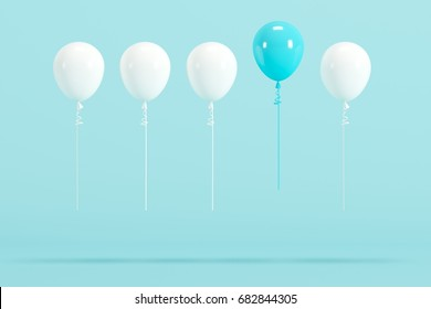 outstanding blue balloon among white balloon concept on blue background for copy space. minimal concept.