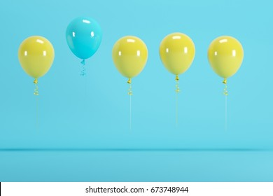 outstanding blue balloon among yellow balloon concept on blue background for copy space. minimal concept.