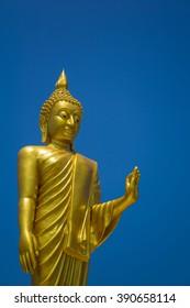 Outstanding Golden Buddha Statue in Buddhist province , Samut Sakhon province inThailand