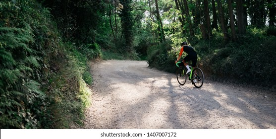 outstanding image in hight resolution of male cyclist rides gravel bike cross country in the forest. man cycling in the nature.  place for text, space for logo and advertisement