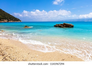 Outstanding Ionian island coastline of sparkling blue water