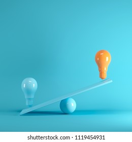 Outstanding Orange light bulb floating on blue seesaw on blue background, minimal idea concept.