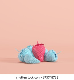 Outstanding Pink strawberry among blue strawberry on pink background. minimal fruit idea.