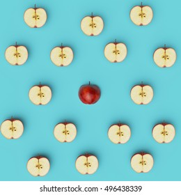 Outstanding red apple middle around half apples on blue pastel background. flat lay