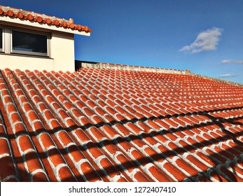 Outstanding red roof tiles in Okinawa, Japan.