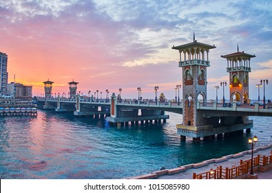The outstanding Stanley bridge, considered to be one of the most remarkable city landmarks, especially beautiful on sunset, Alexandria, Egypt.