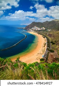 outstanding view of the beach Playa de Las Teresitas, Canary Islands, Spain