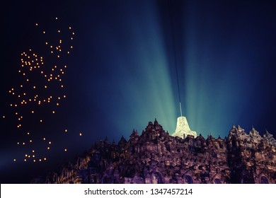Outstanding view of lanterns and Borobudur Temple, Magelang, Cen