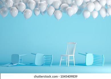Outstanding white chair with floating white balloons in blue pastel background room studio. minimal idea creative concept.