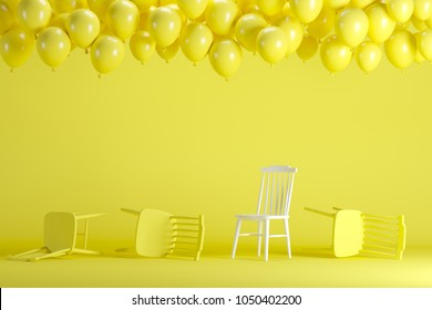 Outstanding white chair with floating yellow balloons in yellow pastel background room studio. minimal idea creative concept.