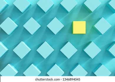 outstanding yellow box among blue boxes on light blue background. minimal flat lay contept