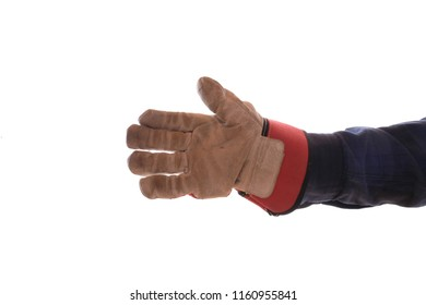 The outstretched hand of a craftsman with glove (isolated)