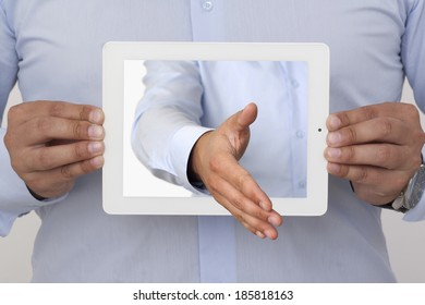 outstretched hand of the display