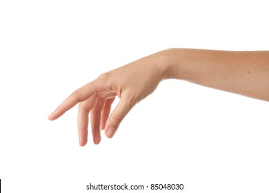 outstretched hand isolated on white