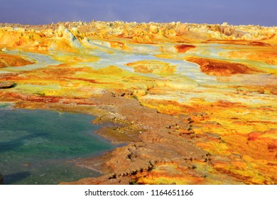 Out-this-planet view to Dallol at Danakil Depression and sulfur, salt, potassium, calcium and ferrum mineral fields in hottest place on Earth