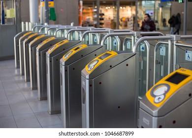 OV (Public Transport) Chip gates at Utrecht central railway station. Utrecht, The Netherlands, february 2018