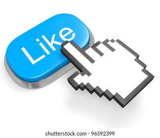 Oval blue button Like and hand cursor
