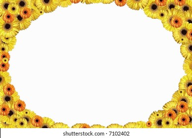 Oval border from gold flowers.