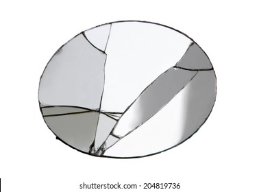 Oval broken mirror isolated on white background. Studio shot,clipping path.