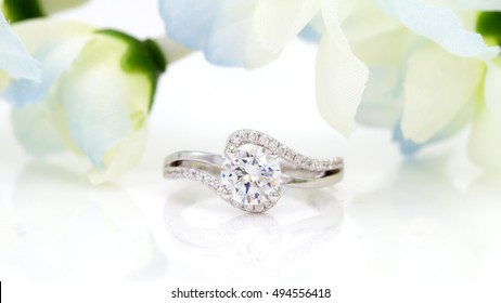 oval diamond ring jewelry flower background