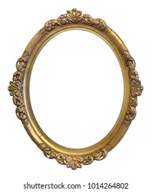 Oval golden frame for paintings, mirrors or photos