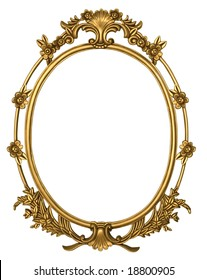 Oval metal frame in gold with floral borders