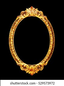 Oval old mirror frame photo isolated on black background