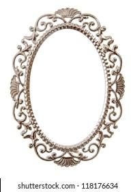 Oval ornate frame isolated on white