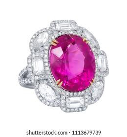 Oval Pink sapphire and White diamonds ring
