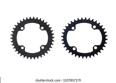 Oval and round bicycle chain rings isolated on white