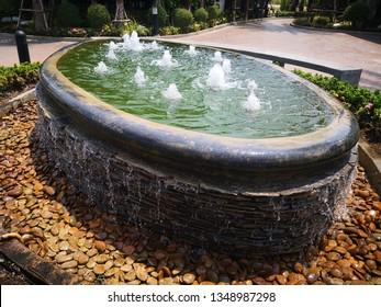 oval shaped fountain