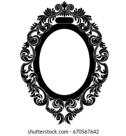 Oval Vintage Border Frame Engraving With Retro Ornament Pattern In Antique Baroque Style Decorative Design