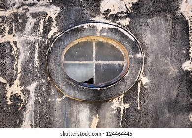 oval window in an old building