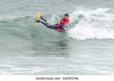 OVAR, PORTUGAL - AUGUST 15: Antonio Cardoso at the 2nd Stage of the Bodyboard Protour 2013 on august 15, 2013 in Ovar, Portugal.