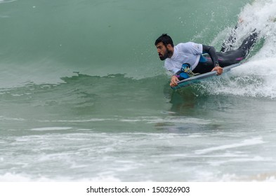 OVAR, PORTUGAL - AUGUST 16: Filipe Raposo at the 2nd Stage of the Bodyboard Protour 2013 on august 16, 2013 in Ovar, Portugal.