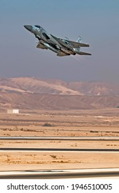 """Ovda, Israel - January 10, 2018: Israeli Air Force F-15 """"Improved Baz"""" fighter jet taking off from Ovda airport near Eilat"""