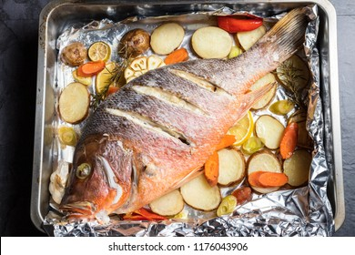 Oven backed  red snapper fish with vegetables,  just from the oven, ready to eat